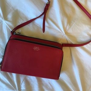 Red leather Vince camuto purse